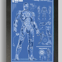 Iron Man Mark 42 Suit Blueprints 16x24