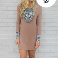 Desert Dream Mocha Cowl Neck Dress