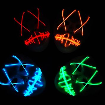 1 Piece Halloween ghost Slit mouth light up glowing LED Cute mask Fashion Cosplay mask Costume mask for party