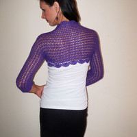 Purple LACE WEDDING SHRUG / Crochet Bolero / Lavender Wedding Bolero Jacket / Lace Shrug