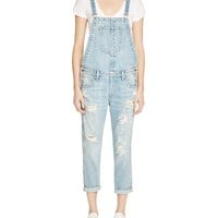 True ReligionKatie Distressed Denim Overalls in True Vintage