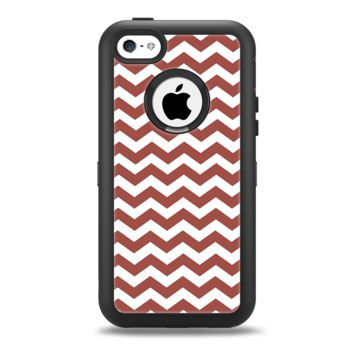 The Maroon & White Chevron Pattern Apple iPhone 5c Otterbox Defender Case Skin Set