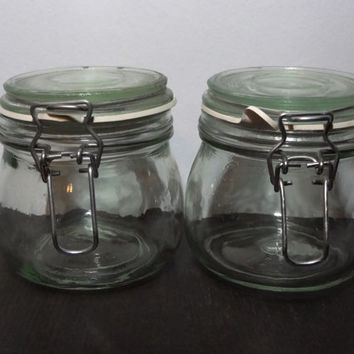 Vintage Anchor Hocking Pearl Very Light Green Glass Canning Jars with Glass Lids, Metal Closures, and Rubber Seals  - Pint Size - Set of 2
