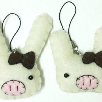 Kawaii Pig Rabbit - Cute Felt Phone Charm, Keychain, Ornament, or Decoration