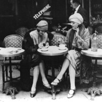 Digital Download:  Paris, France, Collage Art, Cafe, c.1920s, 1924, Street Scene, Flappers, Fashion, Women, photo print, photograph.