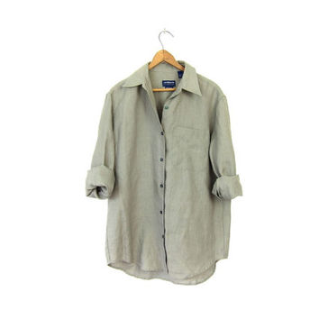 Sage Green Linen Blouse Womens 90s Button Up Minimal Shirt Slouchy Spring Blouse Vintage 1990s Minimal Long Sleeve Top Small