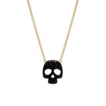 Sugar Bean | Skull Necklace in Gold and Black