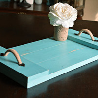Rustic Wood Serving Tray, Teal Home Decor, Table Decor, Coffee Table Tray, Turquoise Wood Decor, Ottoman Tray, Wood Decor, Serving Tray