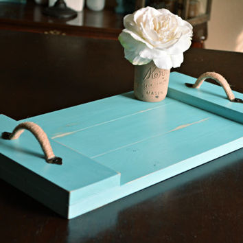 Rustic wood serving tray teal home from willowandroseco on etsy Decorative trays for coffee table