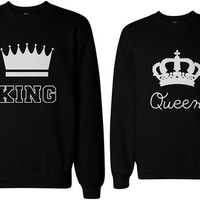 His and Hers Matching Couple Sweatshirts - King and Queen