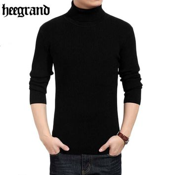HEE GRAND 2018 Men's Wool Turtleneck Sweater Solid All-match Pullovers Brand  Sweaters Warm Pull Sweaters Men MZY032