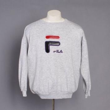 90s FILA Logo SWEATSHIRT / 1990s Heather Light Gray Crewneck