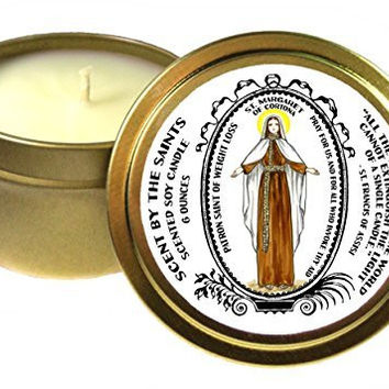 Saint Margaret of Cortona Patron of Weight Loss 6 Oz Scented Soy Gold Tin Candle