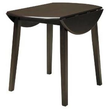 Hammis Round Dining Room Drop Leaf Table Wood/Dark Brown - Signature Design by Ashley : Target