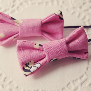 Two Pink Bumble Bee Mini Hair Bows
