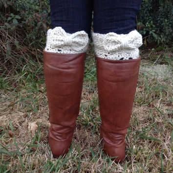 Wide Calf Bow Boot Socks / Boot Cuffs with Bows