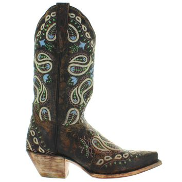 Dan Post Julisa - Chocolate Leather Embroidered Snip Toe Cowboy Boot