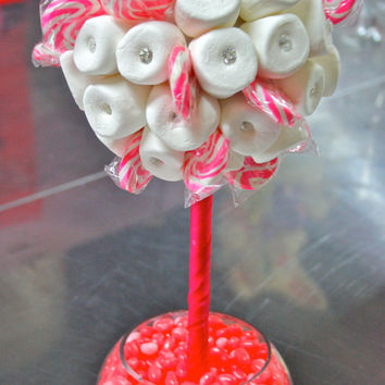 Pink  White Marshmallow  Lollipop Candy Land Centerpiece Topiary Tree, Candy Buffet Decor, Wedding, Mitzvah,