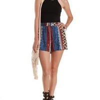 Blue Combo Cuffed Paisley Striped Shorts by Charlotte Russe