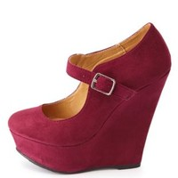 Mary Jane Platform Wedge Pumps by Charlotte Russe - Purple