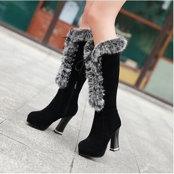 Winter Warm Faux Fur Women Knee High Boots Soft Leather Fashion Side lace-up New Female Thick Heel Tall Boots Shoes Size 34-43