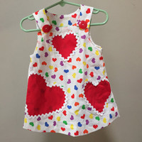Vintage Baby Dress, Red Hearts Jumper, 1980s Craft Dress, Sleeveless Dress, Baby Vintage Dress, Red Buttons Colorful Hearts Vintage 80s Baby
