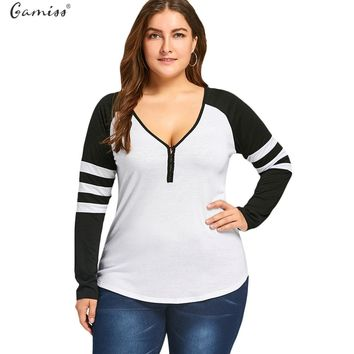 Gamiss Plus Size Two Tone Stripes Buttons T-Shirt Women Long Sleeves Casual Sexy V Neck Raglan Sleeve Cotton Ladies Tops XL-5XL