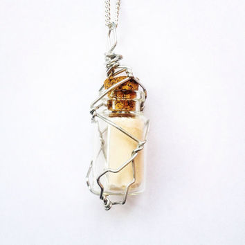 Wire wrapped Message in a Bottle Necklace