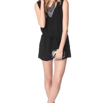 Q2 Black Romper With Cross Back And Drawstring Waistband