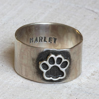 Pet memorial ring dog or cat paw ring