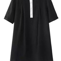 Black Paneled Short Sleeve Lapel Collar Dress