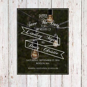 String Lights photograph Save The Date Rustic Vintage Modern for Bridal Shower Birthday Party Outdoor Wedding Invitation Photo Steampunk