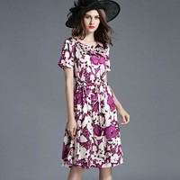 Women Dress Floral Print Work Business Casual Party Vestidos Free Shipping Long Maxi Dresses 163