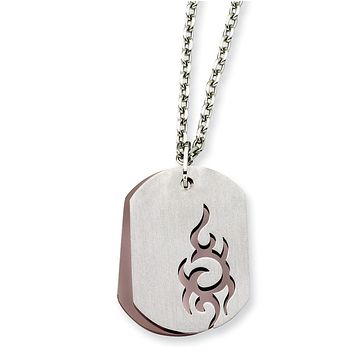 Stainless Steel Two Piece Dog Tag Pendant Necklaces - 46x28mm Cable