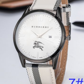 BURBERRY Watch Wome's Men Classic Plaid print Watches B-PS-XSDZBSH White+Black shell