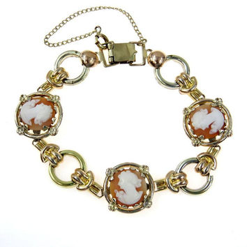 Sammartino Brothers Carved Shell Cameo Two Tone Gold Filled Bracelet