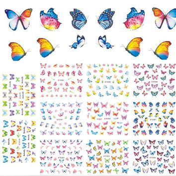 11 Designs/Sets Summer Nails Butterfly Colorful Adhesive Sticker Decals for Women UV Gel Polish Tool Nails Art Tips CHE578-588