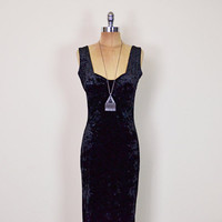 Vintage 90s Black Velvet Dress Crushed Velvet Maxi Dress Body Con Dress Bodycon Dress 90s Dress Grunge Dress Goth Dress Gypsy Dress M Medium