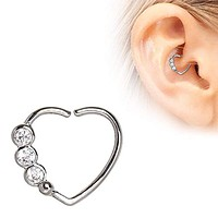 316L Stainless Steel Triple CZ Heart Annealed WildKlass Cartilage Earring