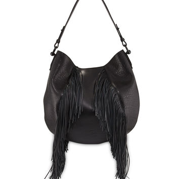 Lucky Fringe Leather Hobo Bag, Black - Christian Louboutin