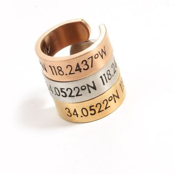 Simple Personality Engraved Numeral Letter latitude Unisex Ring Couple Little Finger Ring