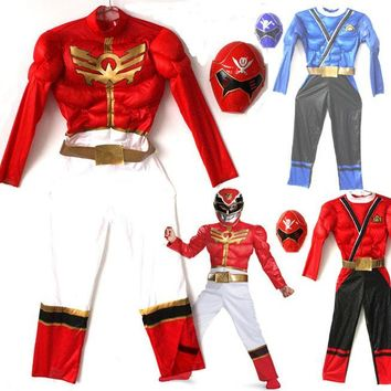 Free shipping ,high quality children red blue musle Power costume Ranger costume mask brade warrior online costume clothes kid
