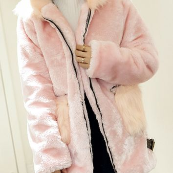 Pink Faux Shearling Longline Hooded Coat