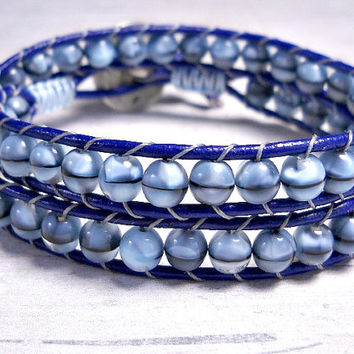 Blue Beaded Leather Wrap Bracelet, Leather Wrap Bracelet, Wrap Around, Women's Wrap Bracelet