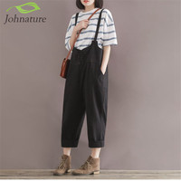 Johnature 2016 Summer New Loose Girl Rompers Solid Cotton Linen Vintage Casual Brief Pockets Rompers Womens Jumpsuit