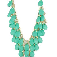 J Crew inspired Statement Necklace- Bubble Bib Necklace, Aqua, Mint, Mother Day Gift, Spring, Summer