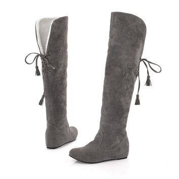 Women Stretch Faux Suede Slim Flat Boots 2018 Fashion Over the Knee Boots Woman Shoes Black Gray 5 colors Warm Winter Long Boots