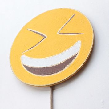 Happy Face with Eyes Closed Emoji Wooden Photo Booth Prop
