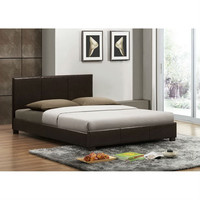 Queen Size Brown Faux Leather Upholstered Platform Bed Frame with Headboard