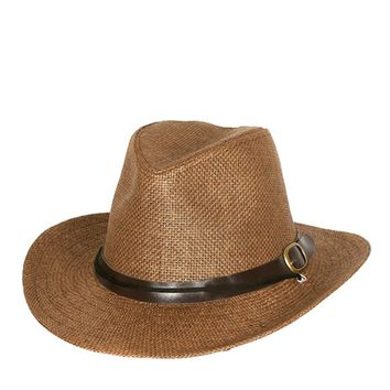 PAPER BRAID COWBOY HAT WITH BELT BUCKLE BAND